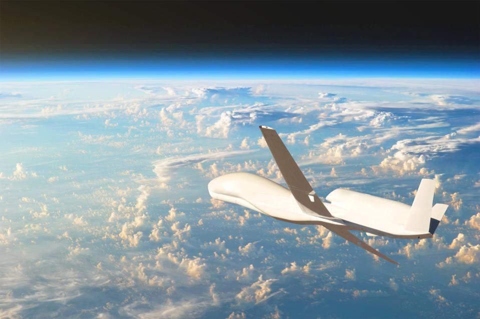 Unmanned aircraft flying in the upper atmosphere.