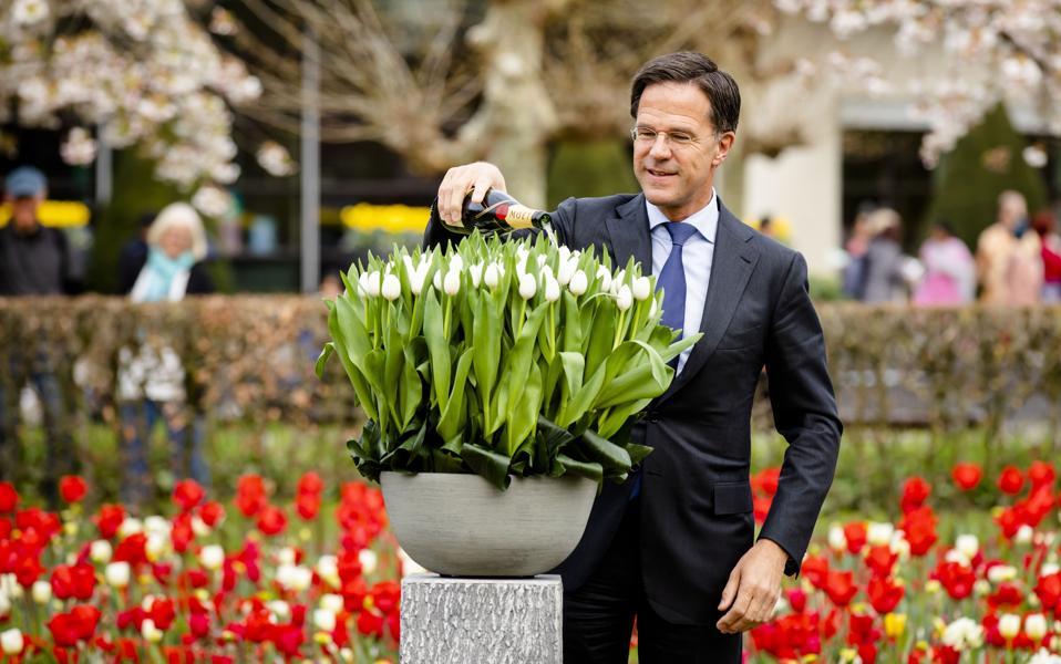 Netherland's Prime Minister Mark Rutte at the Keukenhof park in Lisse,