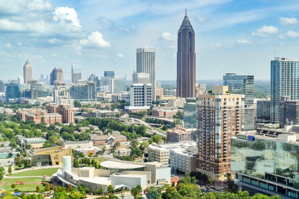 Aerial View of Downtown Atlanta (City Center/Financial District), Georgia, USA