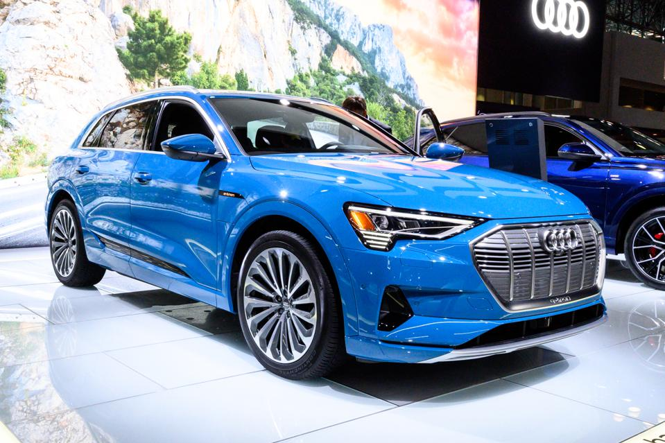 Audi e-tron seen at the New York International Auto Show at...