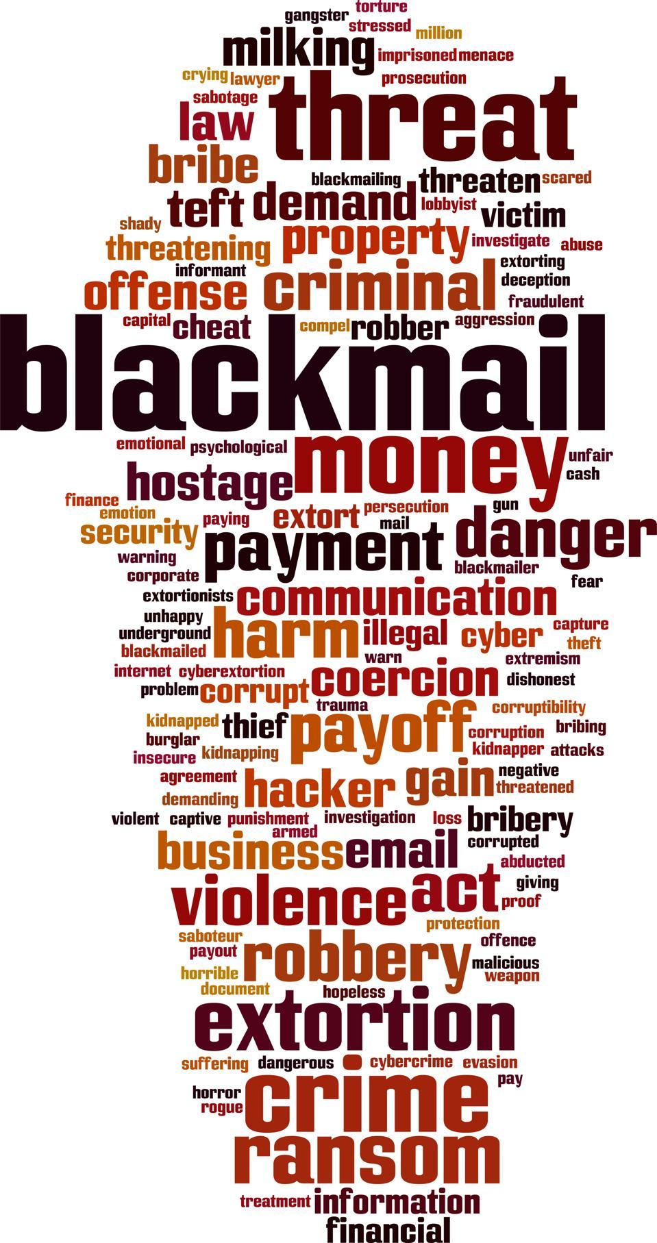 Blackmail word cloud