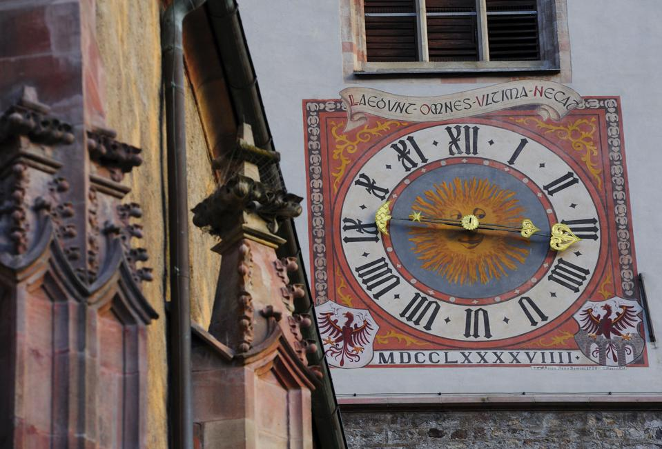 Clock, detail of Bell Tower, Church of San Nicolo