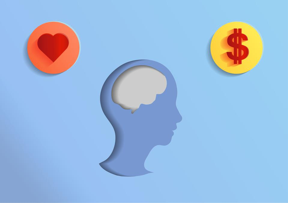 Illustrate of head brain and coin icon in paper cut style.