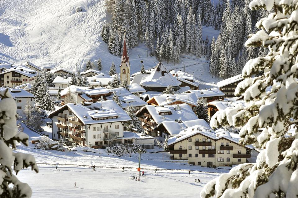 View of Selva under snow, Val Gardena