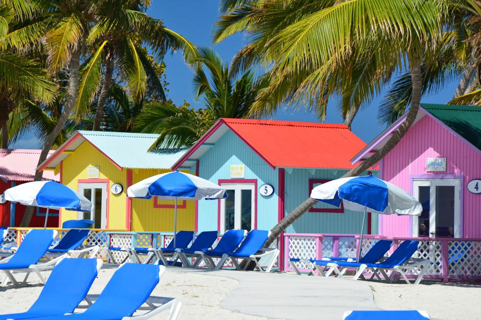 Colorful bungalows on the beach