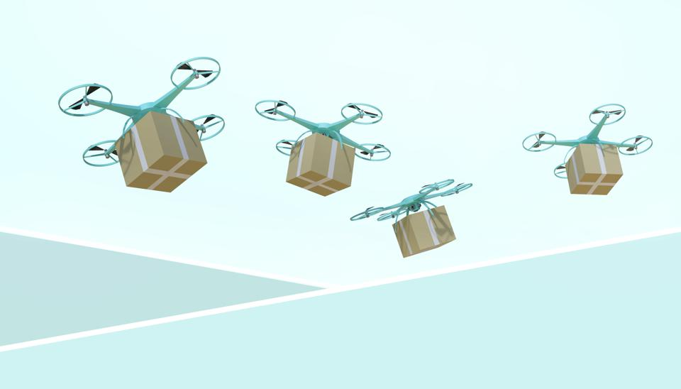 Drone quadcopter Packages and transported in high-tech logistics online shopping on pastel Green background - 3d rendering