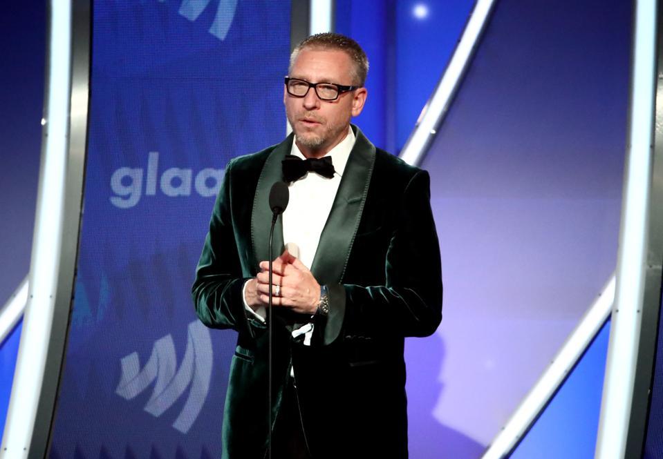Hyundai Motor America CMO Dean Evans speaks during the 30th Annual GLAAD Media Awards.