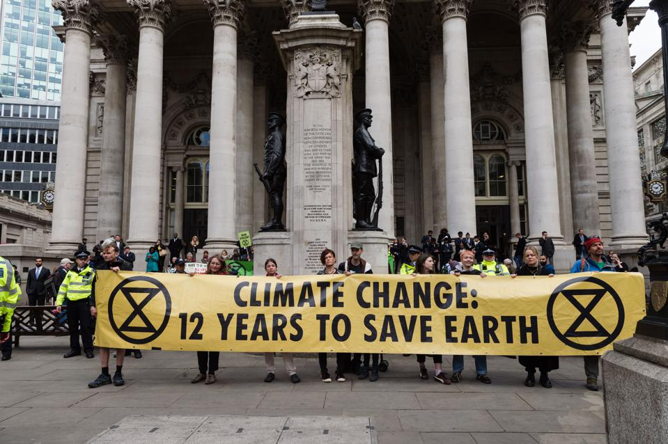 Extinction Rebellion Protest Outside the Bank of England in London