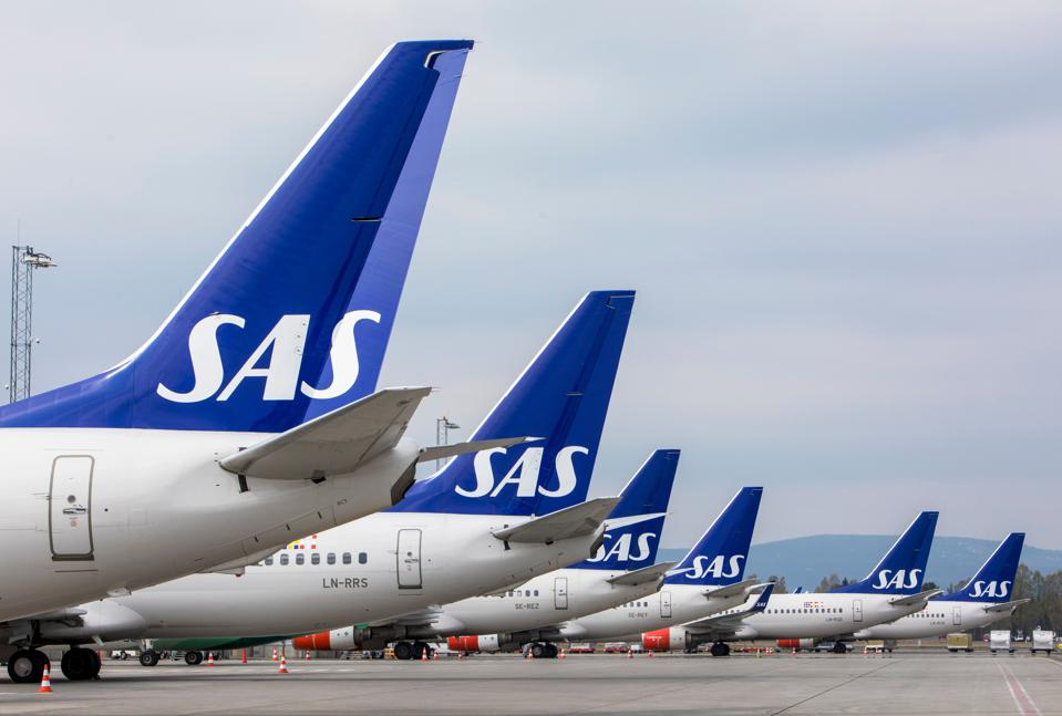 Airplanes of the Scandinavian Airlines SAS parked on ground at Oslo Airport, Norway