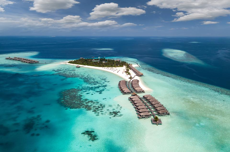 A resort with overwater bungalows. Most resorts in the Maldives will reopen after Aug. 1.