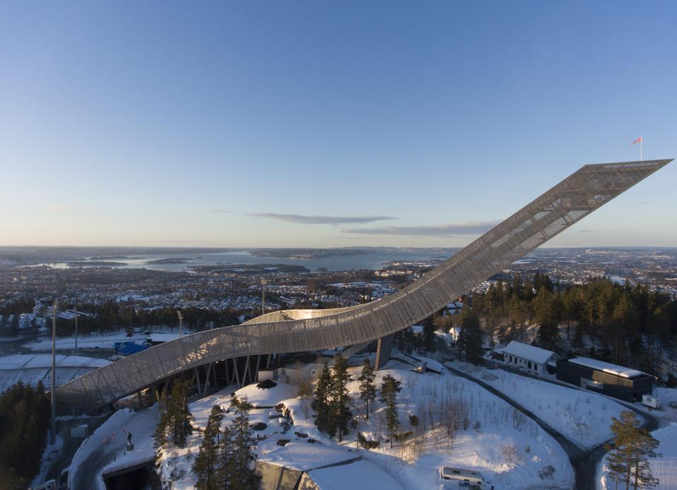 Winter view over Oslo Fjord and the Holmenkollen Ski Jump