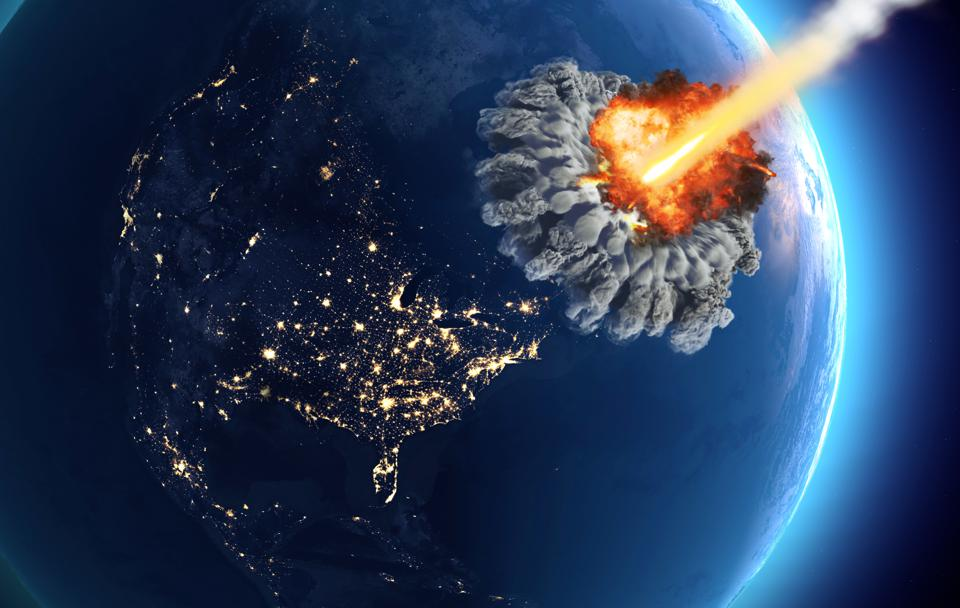 Meteorites that hit the earth. Explosion, cataclysm end of the world. Global extinction. Nuclear bomb