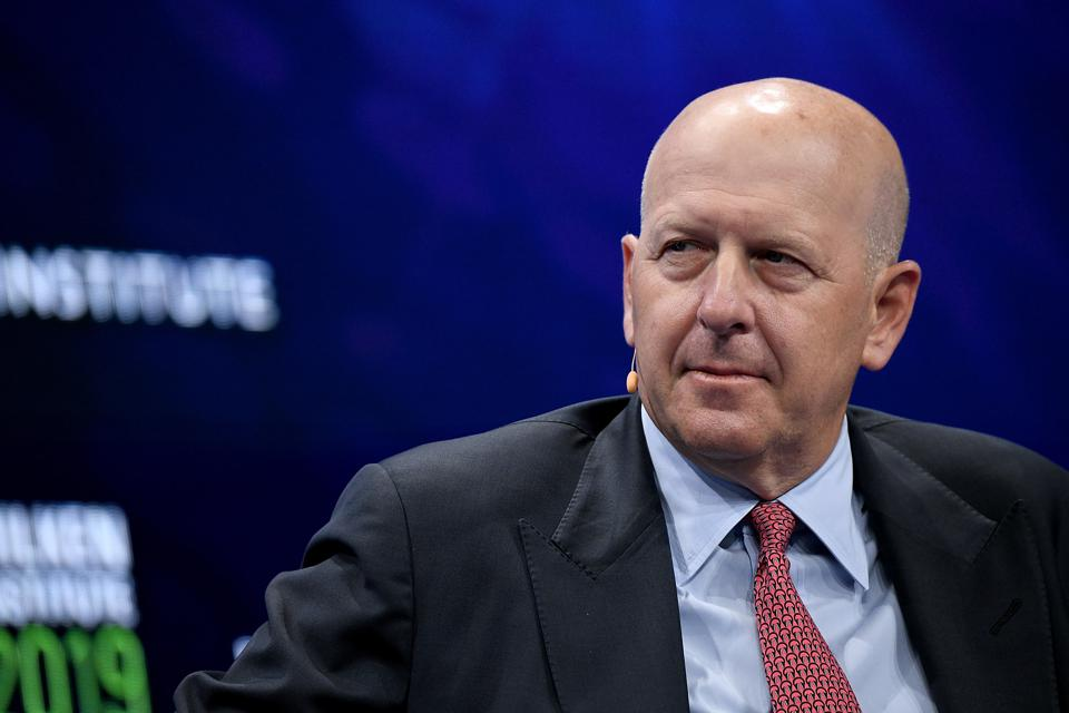 David M. Solomon, Chairman and CEO of Goldman Sachs, participates in a panel discussion during the annual Milken Institute Global Conference in 2019.