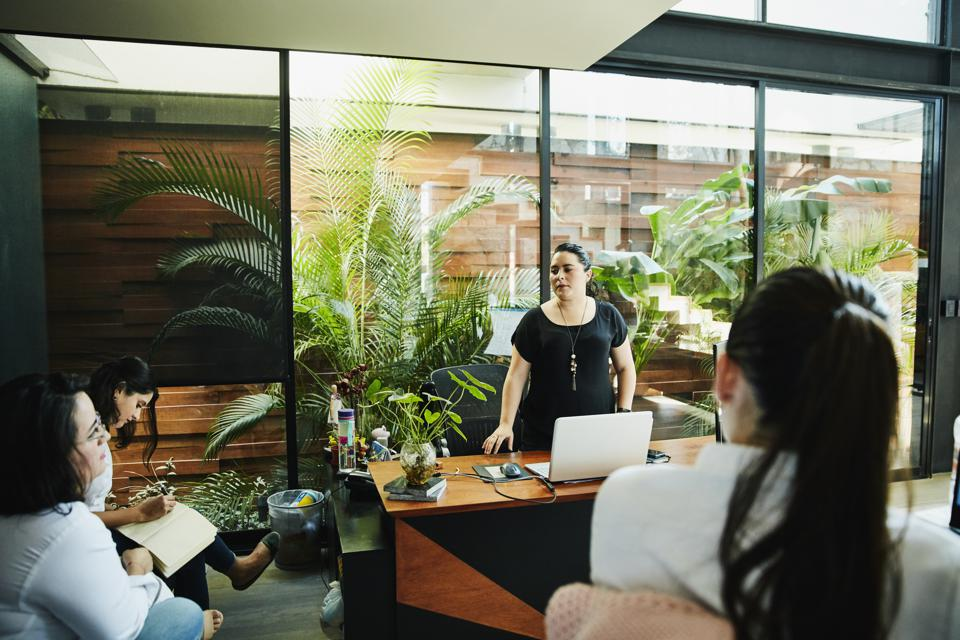 Businesswoman leading project discussion with employees in office