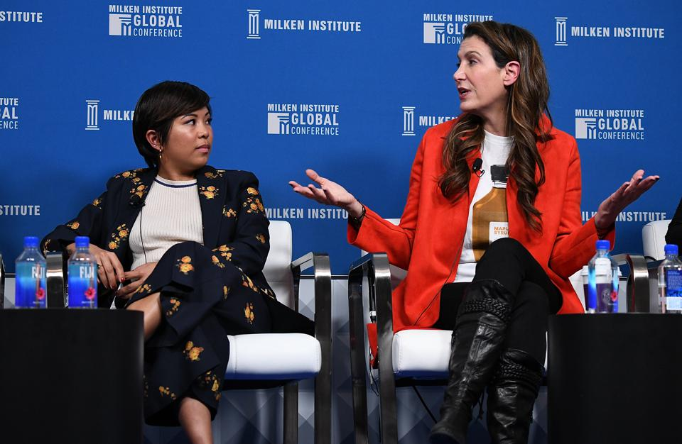 Jen Rubio (left) and Steph Korey (right), co-founders of Away, on stage at the Milken Institute 2019 Global Conference.