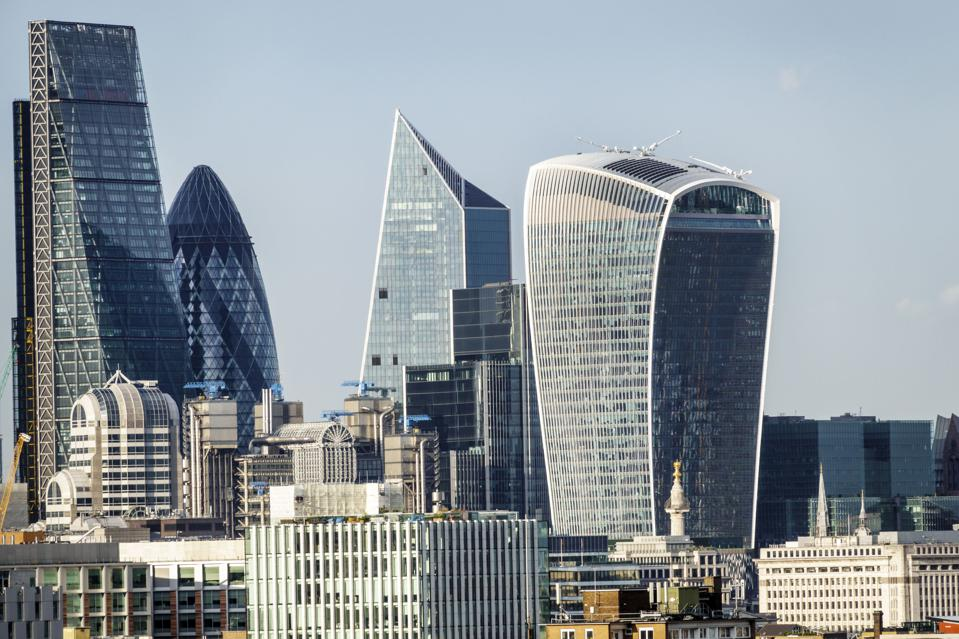London, financial district with Leadenhall Building, The Cheesegrater, Gherkin and Walkie Talkie