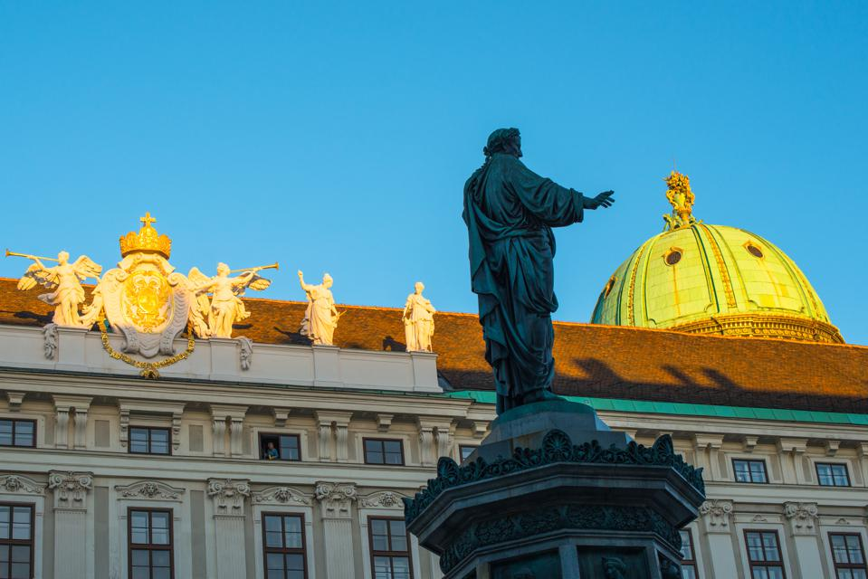Statue of Emperor Francis II at the Hofburg imperial palace, Vienna, Austria.