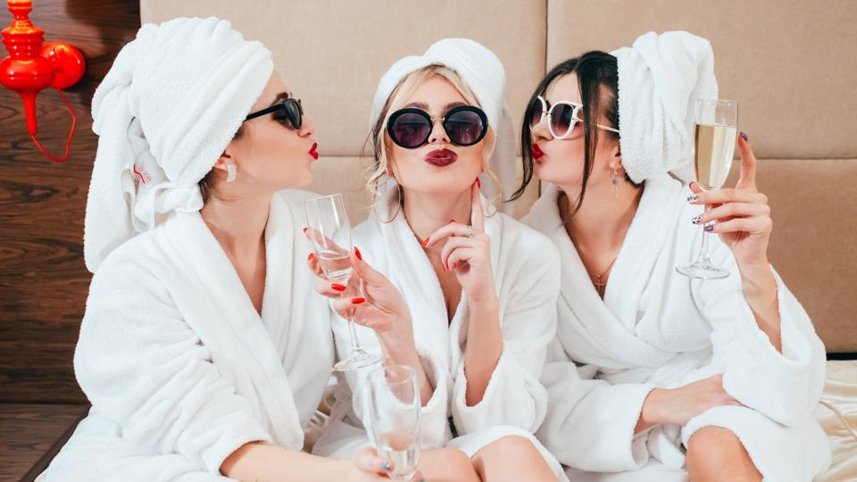 celebration spa congratulation women champagne