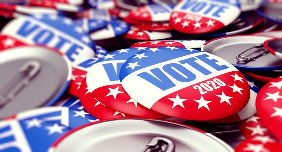 Abstimmungswahl-Ausweisknopf für Hintergrund 2020, Abstimmung USA 2020, 3D Illustration, Wiedergabe 3D