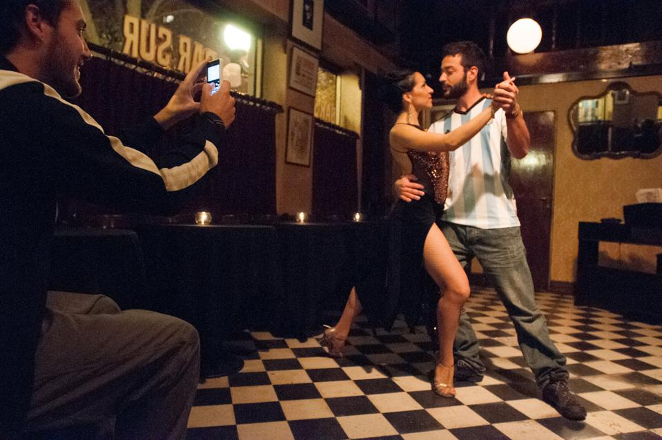 At the Bar Sur in the San Telmo every night at nine o'clock they dance the tango.