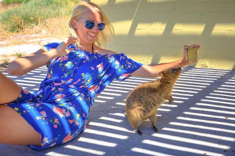 Smiling Woman Crouching By Quokkas On Field