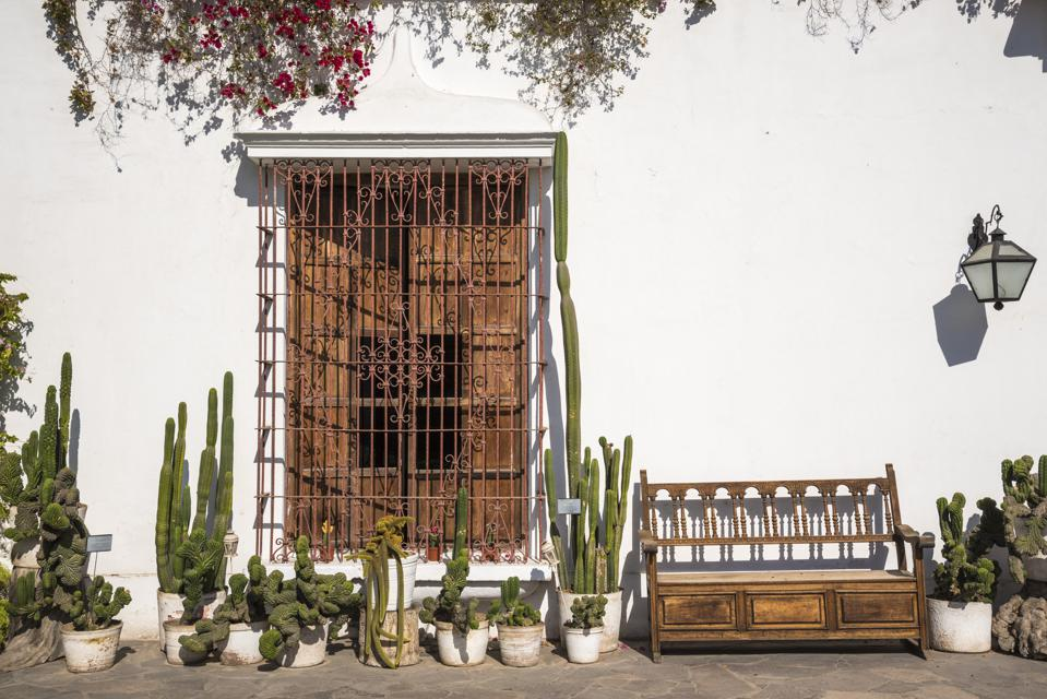 Wrought iron and woodwork in the patio at Museo Larco.