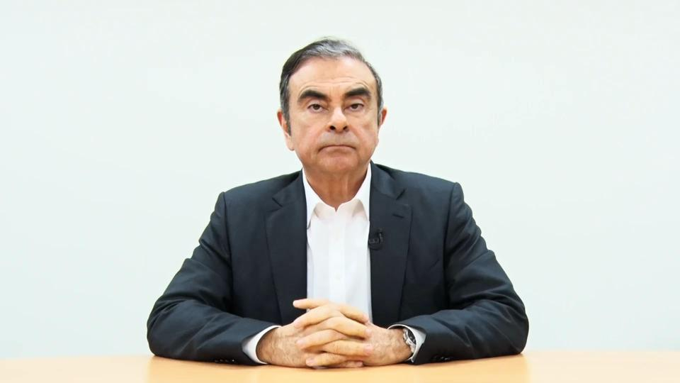 A screen grab from a video provided by Hironaka Law Office shows Nissan's former chairman Carlos Ghosn.