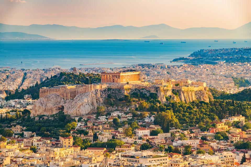 Aerial view on Athens, Greece coronavirus covid-19 travel tourism