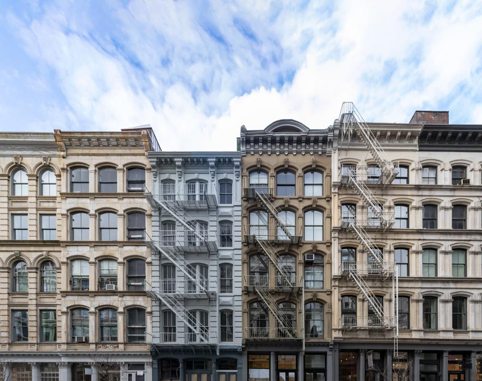 Exterior view of old apartment buildings in the SoHo neighborhood of Manhattan in New York City