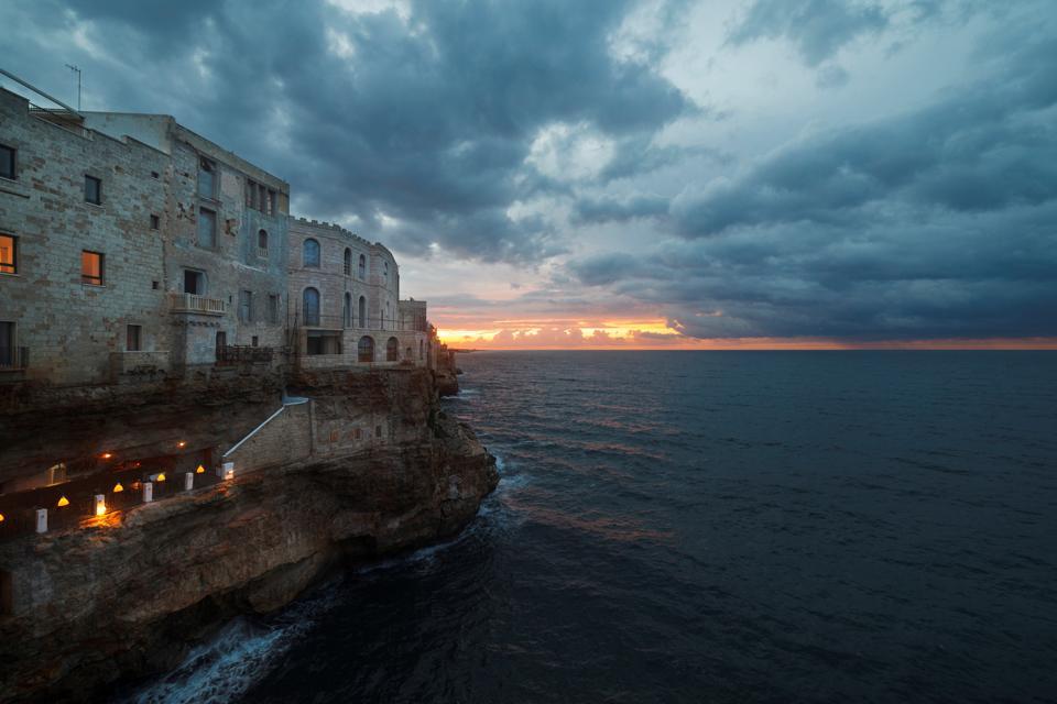 Sunset cityscape at Polignano a Mare. Apulia. Italy. Europe
