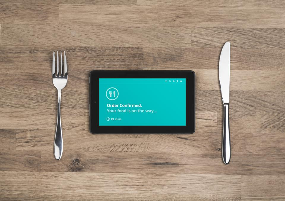 food order online confirmation on mobile tablet