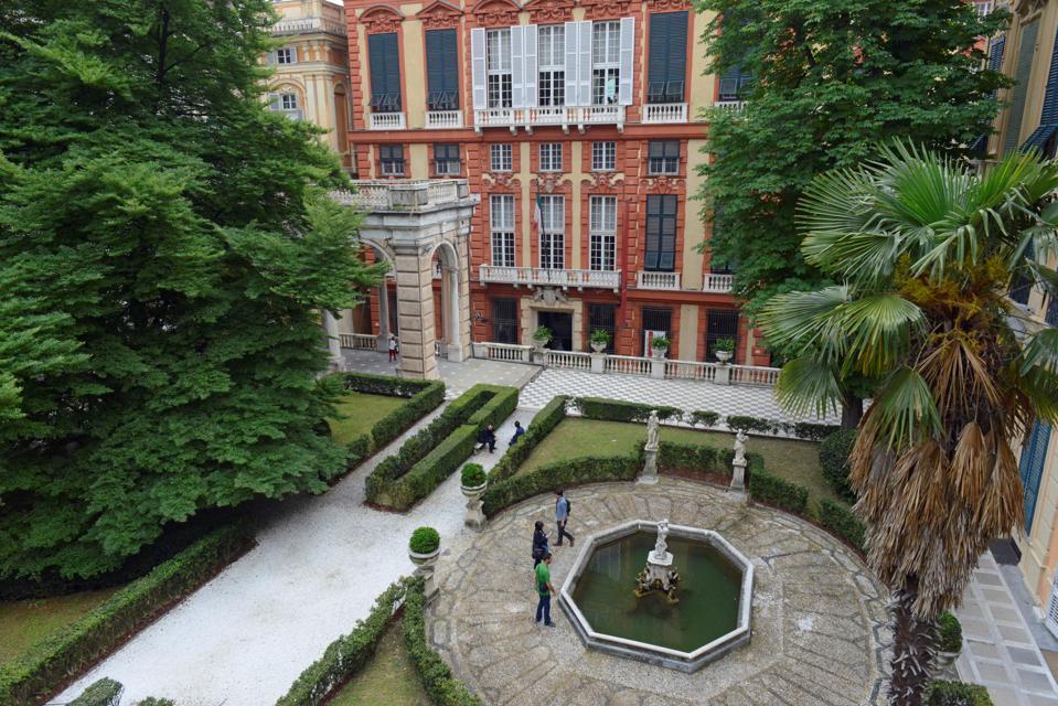 The garden of Palazzo Nicolo Grimaldi on Via Garibaldi-one of the Rolli Palaces in Genoa.