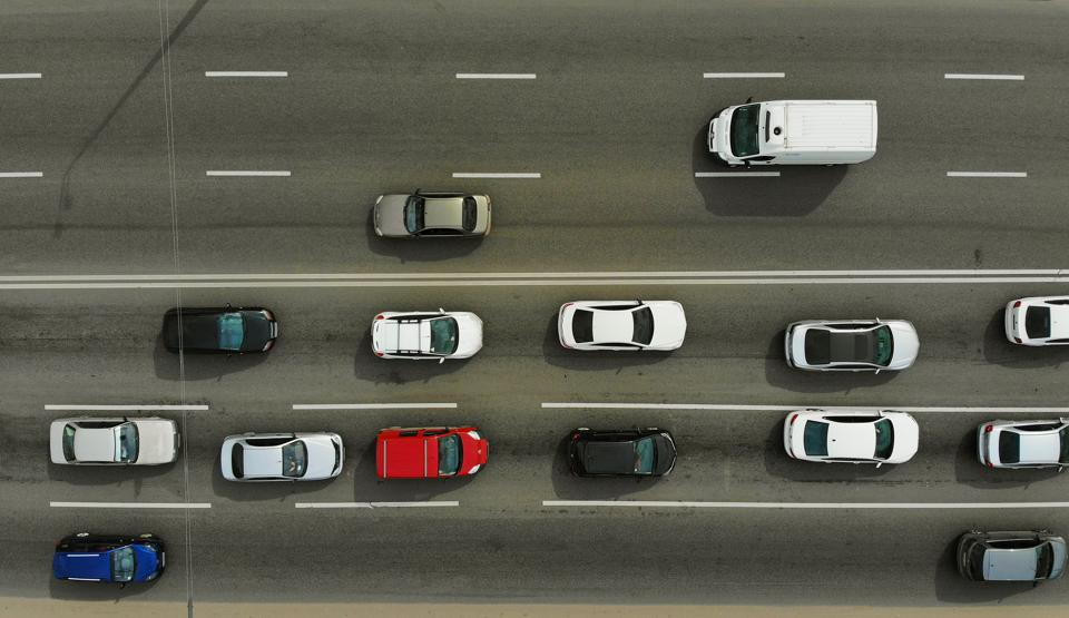 City traffic on a highway, top view, aerial