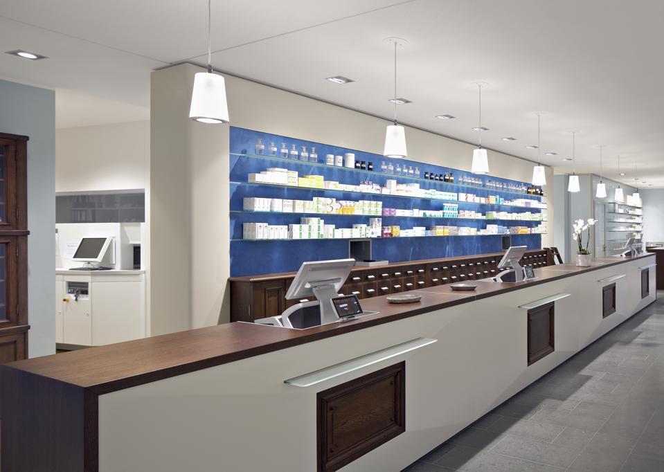 Interior of a modern pharmacy.