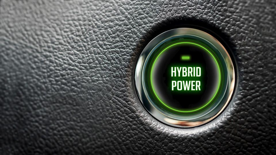 Car Start Button On Dashboard with hybrid power message