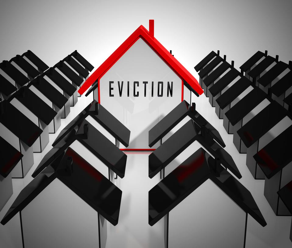 Eviction Notice Icon Illustrates Losing House Due To Bankruptcy - 3d Illustration