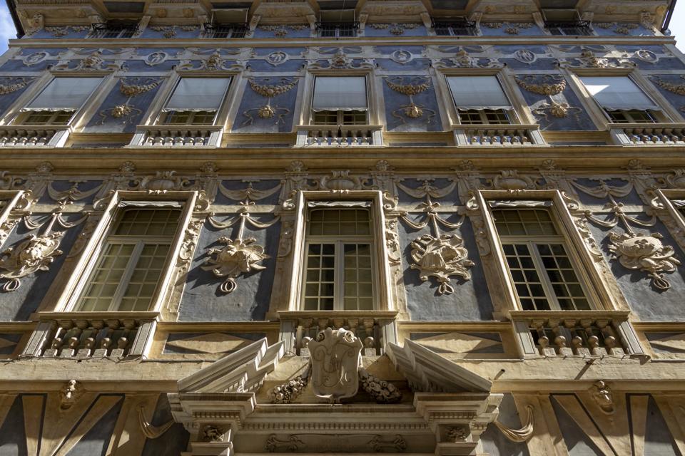 Palazzo Podesta, Genoa Facade of Palazzo Podesta or Palazzo of Nicolosio Lomellino, 1565, one of the Palazzi dei Rolli in Genoa, orUNESCO World Heritage List, 2006), Liguria, 16th century. Detail.