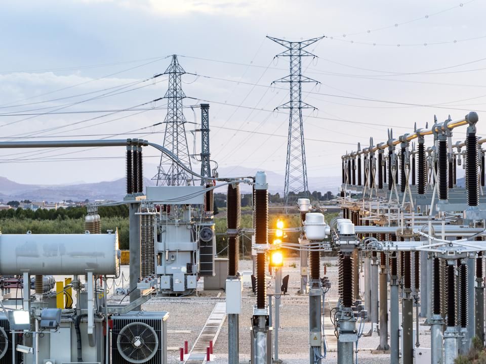 Electrical transformer of high tension in a distribution electric power station.