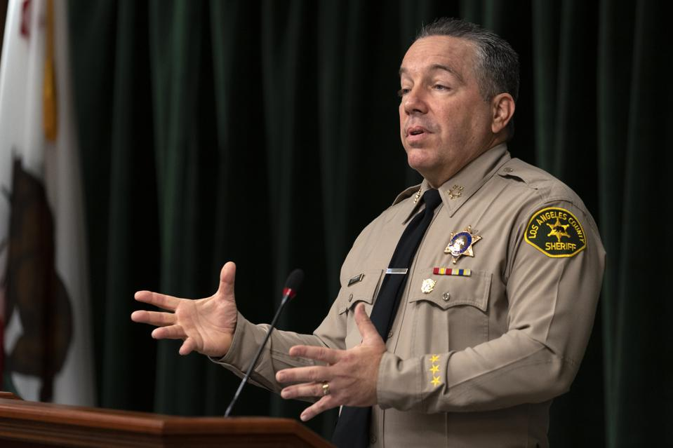 Sheriff Alex Villanueva seen speaking to the media during a...