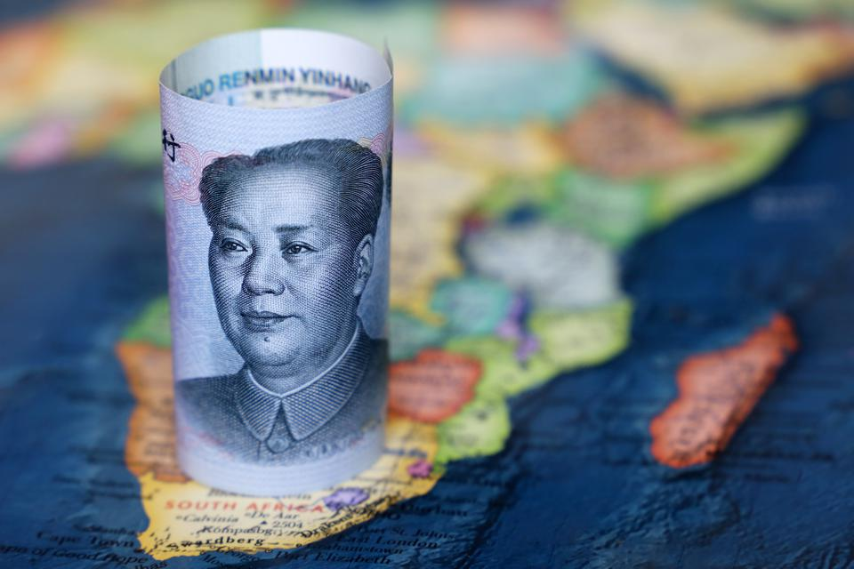 Chinese yuan on the map of Africa continent