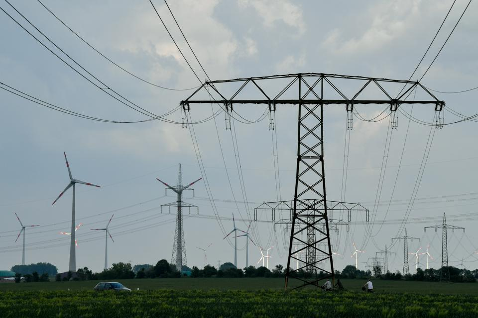 Windmills and power pylons