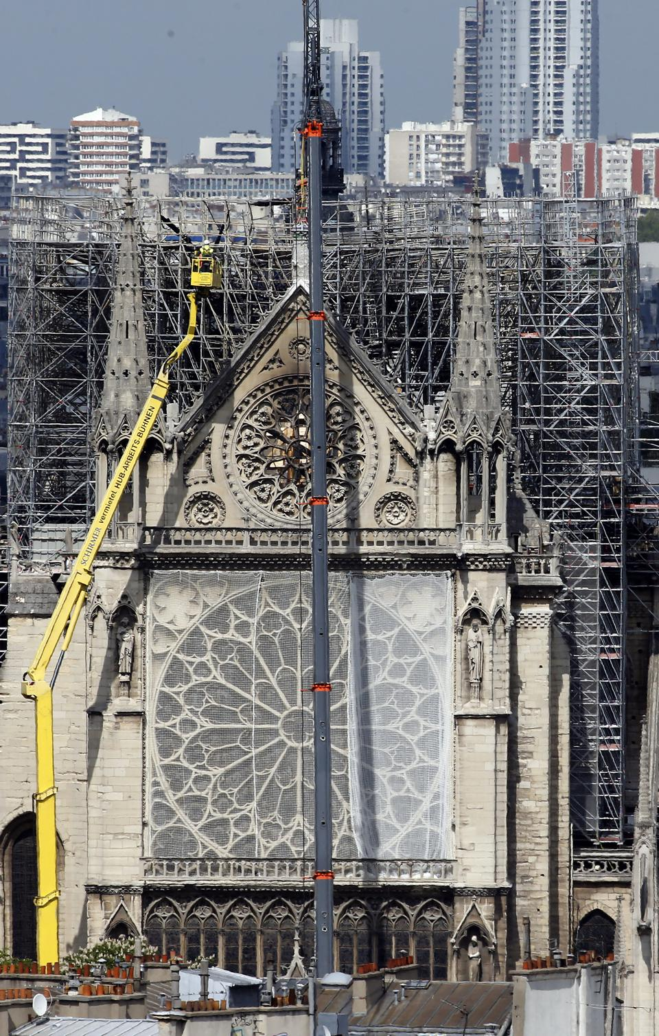 Work Takes Place On Notre Dame Cathedral After Devastating Fire