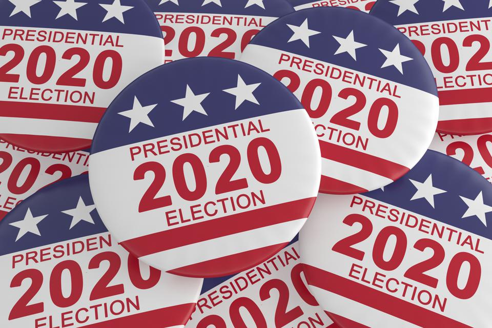 Pile of 2020 Presidential Election Buttons With US Flag, 3d illustration