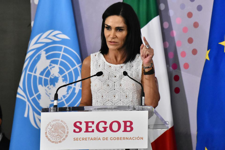 Lydia Cacho during a press conference for an initiative against gender-based hate crimes