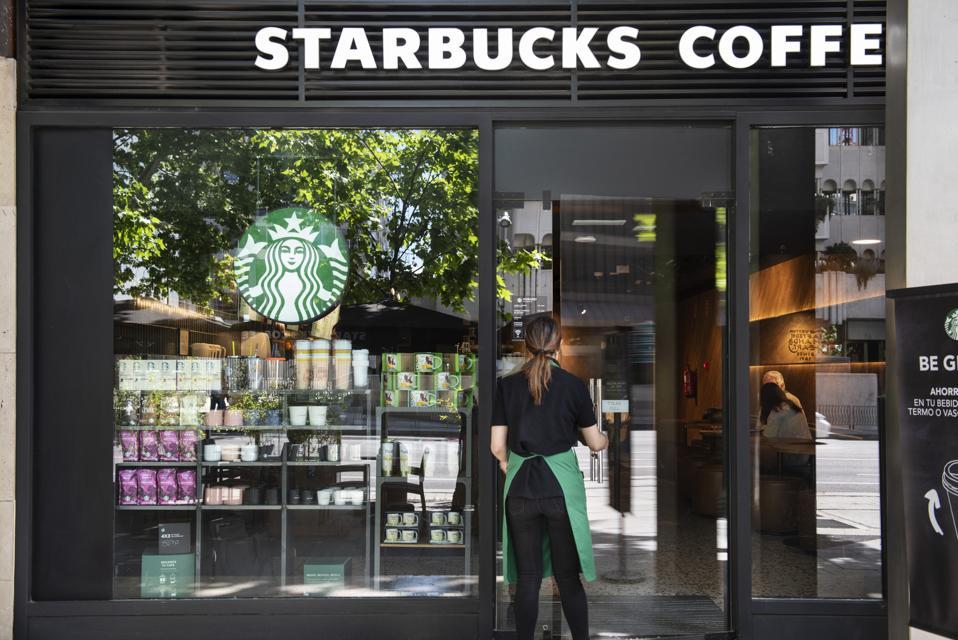 American multinational chain Starbucks Coffee store and...