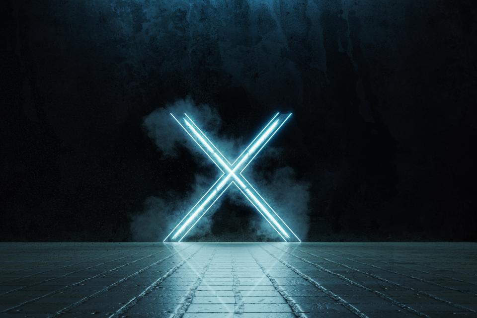 3d rendering of framed lighten X alphabet shape on grunge tiles floor surrounded by smoke
