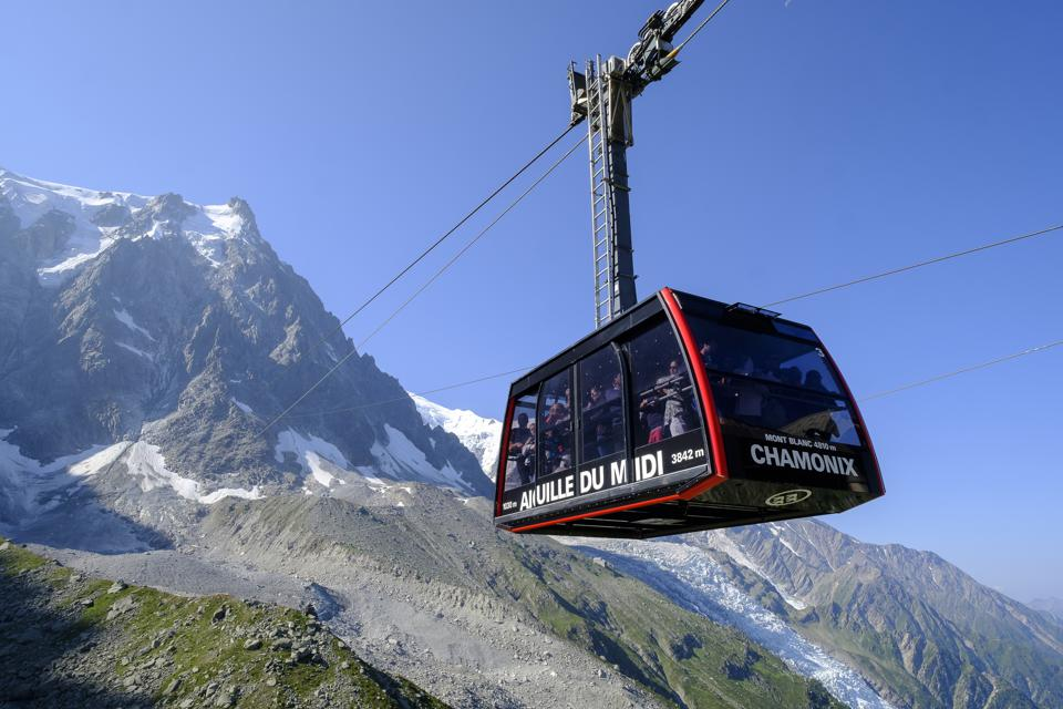 The Aiguille du Midi cable car.