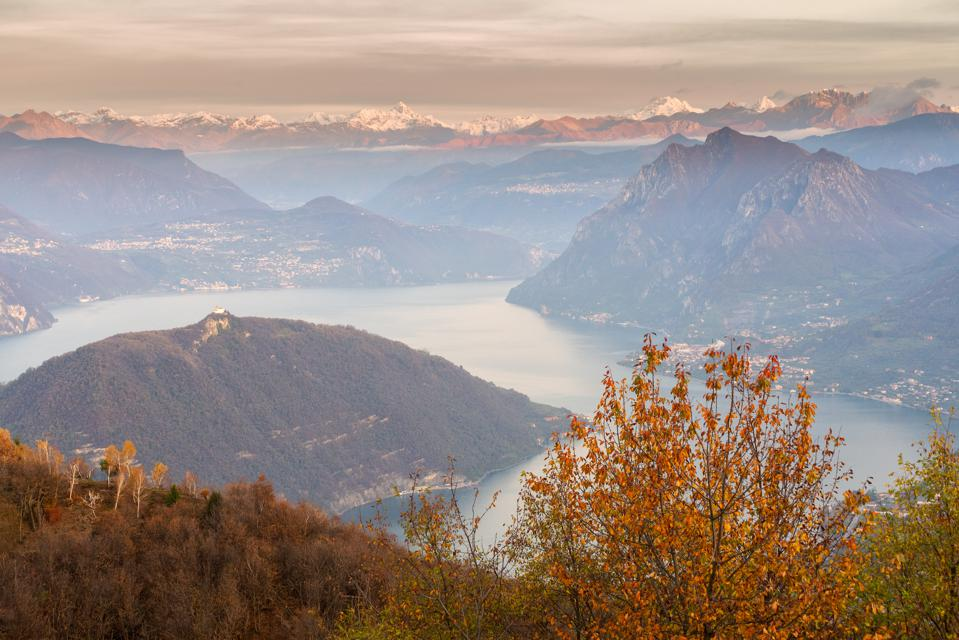 Monte Isola and the Orobie Alps in autumn.