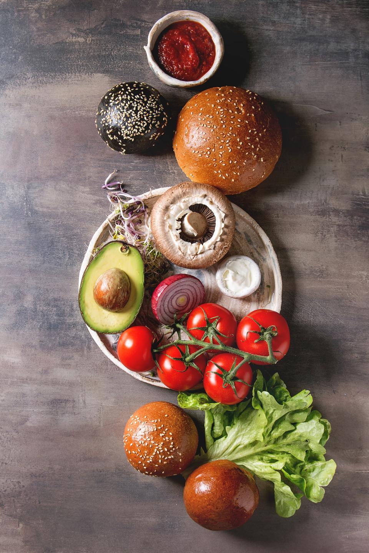 Ingredients for cooking homemade vegan hamburgers