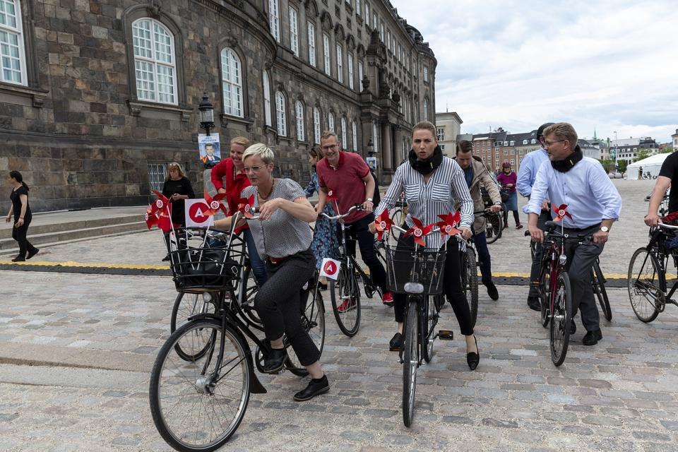 Danish Social Democratic Prime Minister Candidate Campaigns by Bike